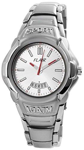 Flair Herren Analog Armbanduhr mit Quarzwerk 200422600003 Metallgehaeuse mit Metallarmband Silberfarbig und Faltschliesse Ziffernblatt silberfarbig Bandgesamtlaenge 19cm Bandbreite 20mm