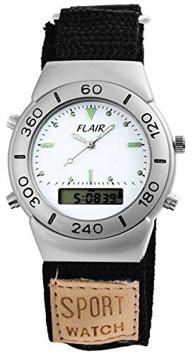 Flair Herren Digital Armbanduhr mit Quarzwerk 200522000007 Metallgehaeuse mit Textil Klettarmband Schwarz Ziffernblatt Weiss Bandgesamtlaenge 18cm Bandbreite 24mm
