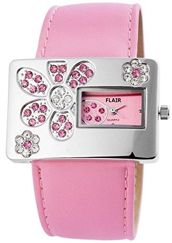 Flair Damenuhr mit Lederimitationsarmband Armbanduhr Uhr Rosa 100325500111