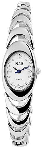 Flair Damenuhr mit Metallarmband Armbanduhr Uhr Weiss 100422100267