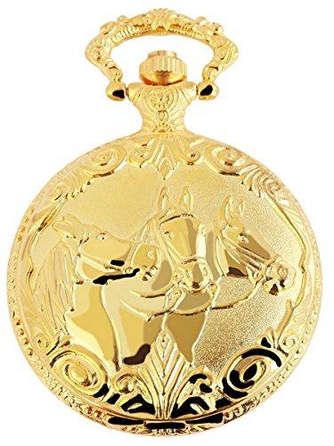 Flair Analog Taschenuhr mit Metall Kette und Hakenverschluss im Motiv Pferde 480802000078 Goldfarbiges Gehaeuse im Masse 46mm x 15mm mit Ziffernblattfarbe Weiss und Mineralglas