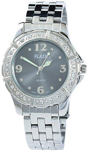 Flair Herrenuhr Grau Silber Analog Metall Strass Armbanduhr Modeuhr Quarz Uhr