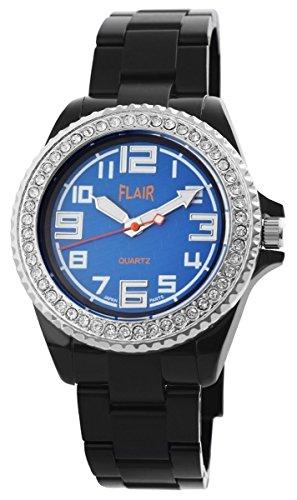 Flair Damen Analog Armbanduhr mit Quarzwerk 100893000009 und Kunststoffarmband in Schwarz mit Faltschliesse Ziffernblattfarbe blau Bandgesamtlaenge 19 cm Armbandbreite 20 mm