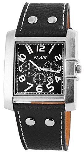 Flair Herren Analog Armbanduhr mit Quarzwerk 200321000067 und Metallgehaeuse mit Kunstlederarmband in Schwarz und Dornschliesse Ziffernblattfarbe schwarz Bandgesamtlaenge 24 cm Armbandbreite 29 mm