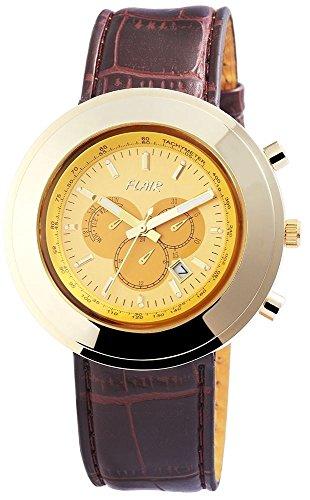 mit Lederimitationarmband Armbanduhr Uhr watch Gelb 200304000011