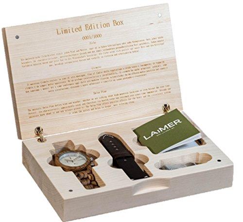 LAiMER Geschenksbox mit Holzuhr Chronograph Mod Cosmas in Zebranoholz Lederband von Hirsch und Geldklammer aus Holz 100 Zebrano Naturprodukt Suedtirol Limitiert auf 1000 Stueck