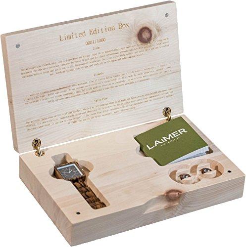 LAiMER Geschenksbox Holzuhr Mod Kathrin mit Ohrstecker aus Zebranoholz mit Swarovski Kristallen 100 Zebrano Naturprodukt Suedtirol Limitiert auf 1000 Stueck