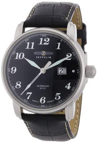 Zeppelin Herren-Armbanduhr XL LZ127 Graf Analog Automatik Leder 76522S