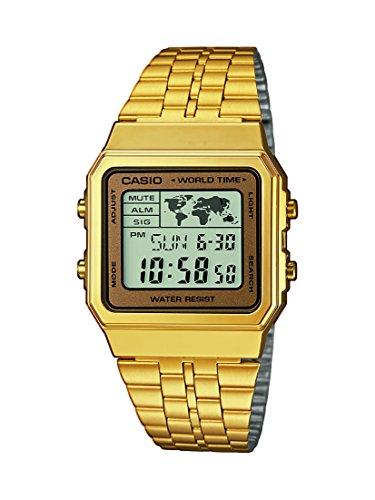 Casio Herren Digital mit Edelstahl Armbanduhr A500WEGA 9EF