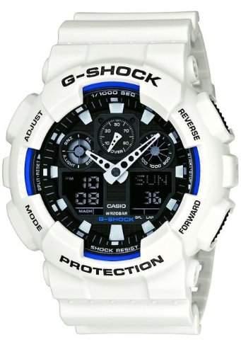 Casio G-Shock AnaDigi Herren Uhr Weiss GA-100B-7AER