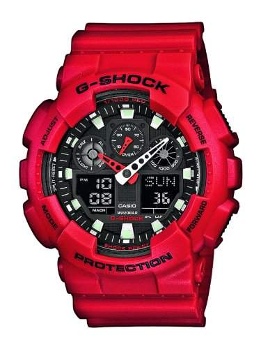 Casio G-Shock AnaDigi Herren Uhr Rot GA-100B-4AER