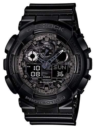 Casio Herren Armbanduhr Xl G-Shock Analog - Digital Quarz Schwarz Resin Ga-100Cf-1Aer