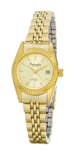 Klassische Eichmueller Damenuhr vergoldet Edelstahl Armbanduhr Uhr mit Datum