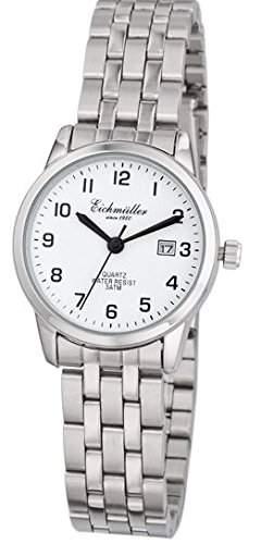 Klassische Eichmueller Damenuhr Edelstahl Armbanduhr weiss Uhr mit Datum