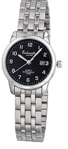 Klassische Eichmueller Damenuhr Edelstahl Armbanduhr schwarz Uhr mit Datum