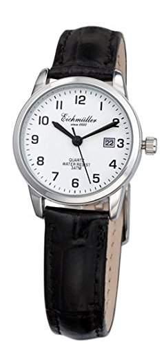 Klassische Eichmueller Damenuhr Leder Armbanduhr weiss Uhr mit Datum