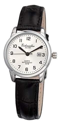 Klassische Eichmueller Damenuhr Leder Armbanduhr grau Uhr mit Datum