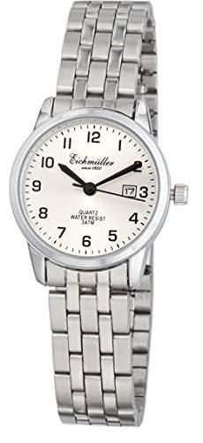 Klassische Eichmueller Damenuhr Edelstahl Armbanduhr grau Uhr mit Datum