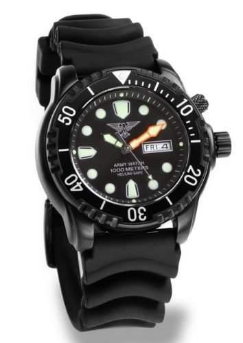 Army Watch Taucheruhr - 100 ATM1000 Meter - Silikonband - Black IP - EP848