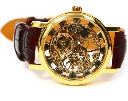 Leder Mechanische Selbstaufzug Uhr Herren Armbanduhr Skelett Herrenuhr Kaffee-Band golden Zifferblatt