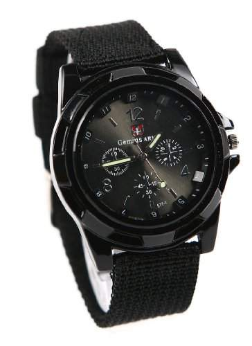 Mode Sport Stil Militaer- Armee Pilot Stoff Band Mann Armbanduhr Uhr schwarz