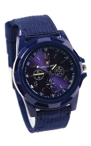 Mode Sport Stil Militaer- Armee Pilot Stoff Band Mann Armbanduhr Uhr marineblau
