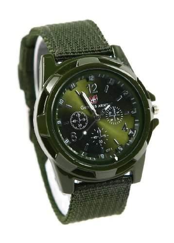 Mode Sport Stil Militaer- Armee Pilot Stoff Band Mann Armbanduhr Uhr gruen