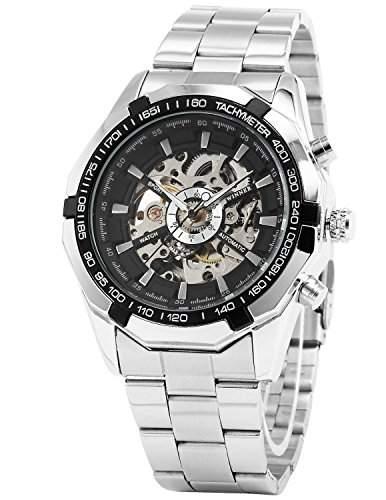 WINNER Herren- Selbstaufzug mechanische Uhr Armbanduhr Stahl- band schwarz