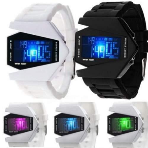 Uhr Fliegeruhr Digital LED Silikon Quarz Herren Armbanduhr Weiss white