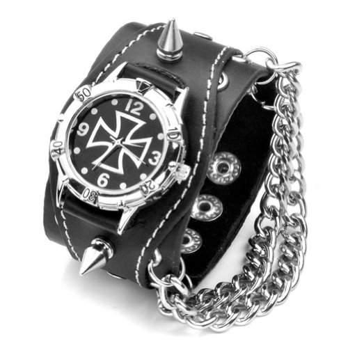 Better Dealz Punk Gothic Element Armbanduhr Nieten Schaedel Metall Kette Lederarmband Herren Damen Uhr,KREUZ