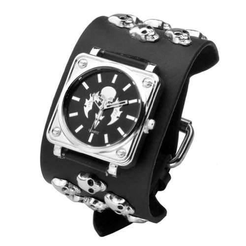 Better Dealz Punk Gothic Element Armbanduhr Nieten Schaedel Metall Kette Lederarmband Herren Damen Uhr,Totenkopf