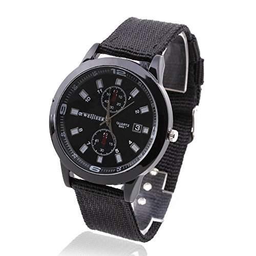FACILLA Herren Armbanduhren Sportuhr Uhren Quarz Uhr Leinwand Armband Freizeit Schwarz