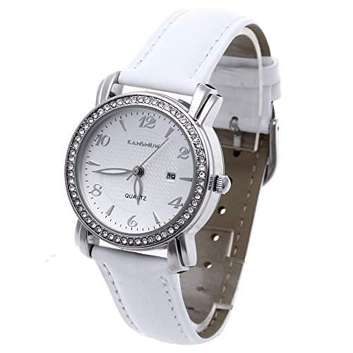 FACILLA Damen Armbanduhr Quarzuhr Damenuhr Strass Datum-Anzeige Wasserdicht Weiss-Armband