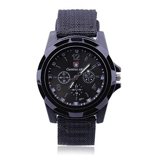 FACILLA Armbanduhr Herren Uhr Sportuhr Quarz Nylon Geflochten Watch
