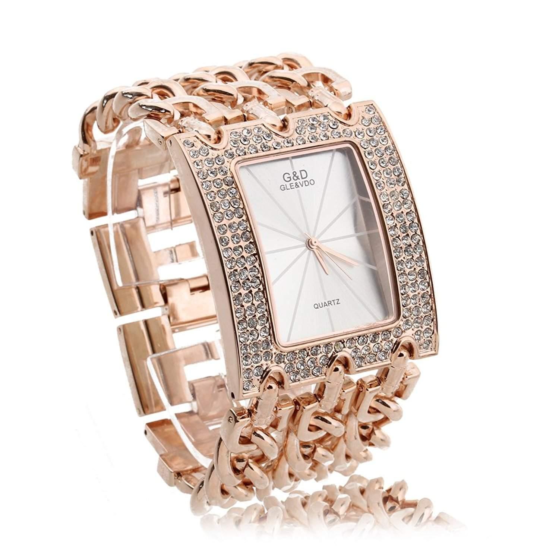 FACILLA® Strass Damen Armband Uhr Damenuhr Armbanduhr Quarzuhr Legierung Rosen-Goldfarbe