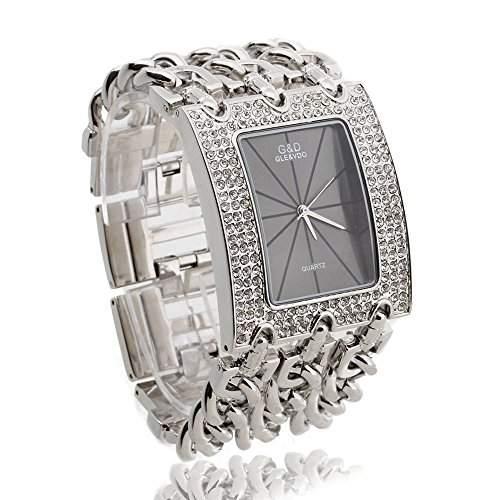 FACILLA® Damen Armband Uhr Damenuhr Armbanduhr Quarzuhr Legierung Silberfarbe mit Strass