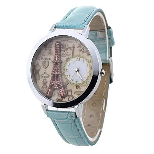 FACILLA® Damen Uhren Armbanduhren Quarzuhren roemisch Ziffer Hellblau Turm Retro Gefragt