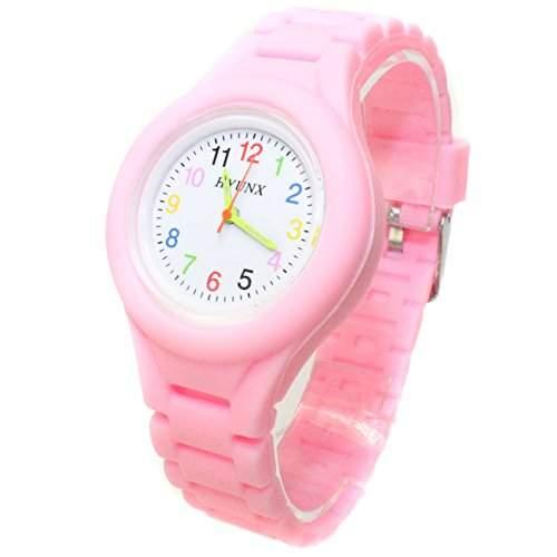 FACILLA® Kinder Uhr Kinderuhr Armbanduhr Quarzuhr Silikon Armband Geschenk Pink Modisch