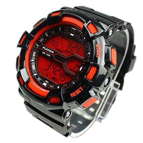 FACILLA® Herren Digital Uhr Herrenuhr Armbanduhr Sportuhr Silikon Multifunktional Schwarz