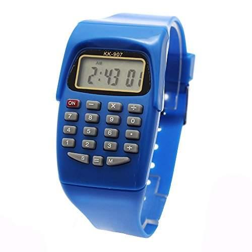 FACILLA® Kinderuhr Kalender Rechner Keypad Tastatur elektronische digital Armbanduhr Blau