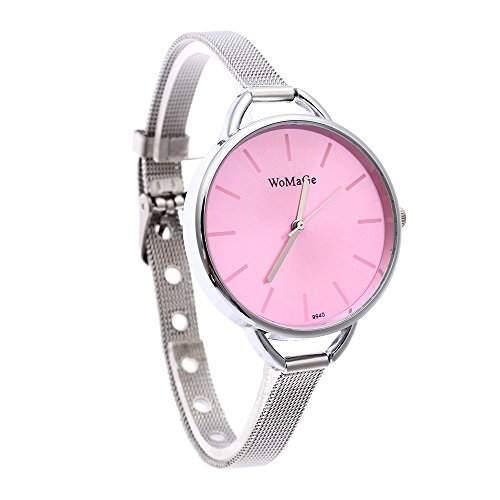 FACILLA® Damen Elegant Uhr Mode Quarzuhr Stahl Armband Analog Schmuck Geschenk Pink