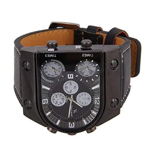 FACILLA® Herren Uhr aus Leder Armband mit Analog Quarz drei Bewegungs Sport Watch Schwarz