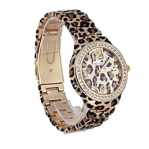 FACILLA® Mode Damen Uhr mit Leopard Stahl Armband Analog Quarzuhr Strass Geschenk Gold