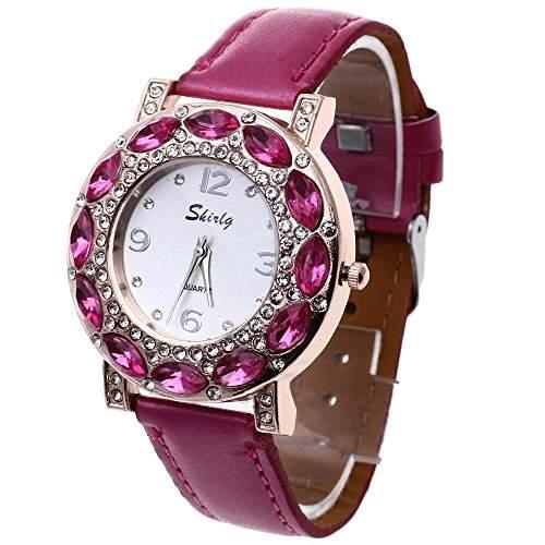 FACILLA® Damen Quarzuhr Damenuhr Armbanduhr Rosa Verziert mit Strass NEU