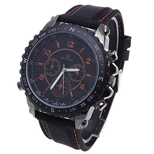 FACILLA® Armbanduhren Quarzuhr Sportuhr Herrenuhr Silikon Armband Orange Arabische Zahlen