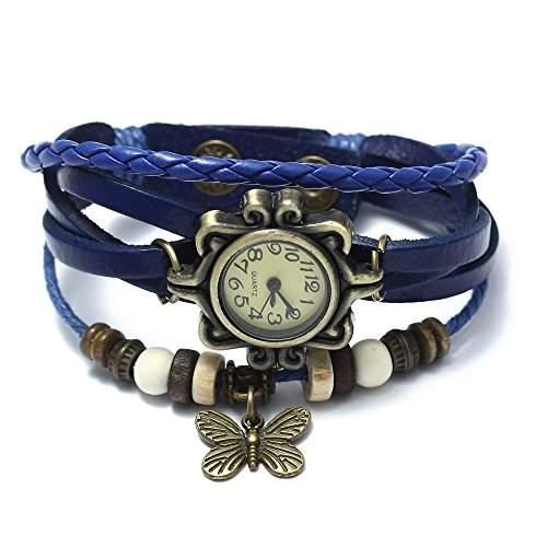FACILLA® Damen Uhr Armbanduhr Damenuhren Quarzuhren Wickelamband Schmetterling Vintage PU