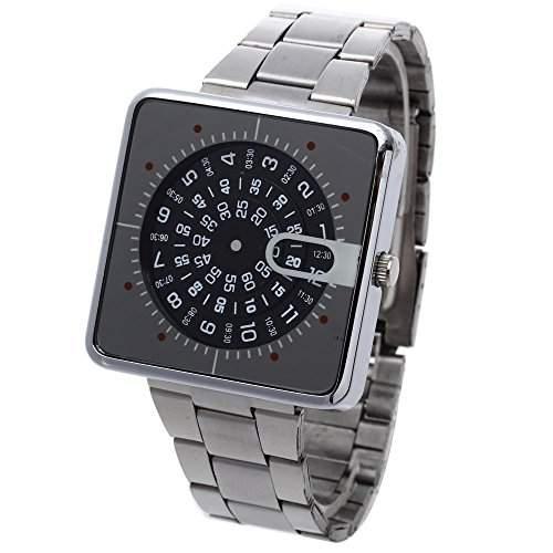 Herrenuhr Armbanduhren Quarzuhr Viereck Stahl-Uhrenband Silberfarbe