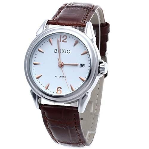 FACILLA® Mode Herrenuhr Automatik Mechanische Uhr Armbanduhr Watch Leder Datum Braun