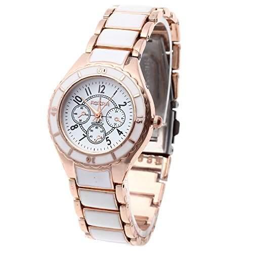 FACILLA® Damen Uhr Armbanduhr Quarzuhren Quarz Kunst Rosegold Weiss Modisch