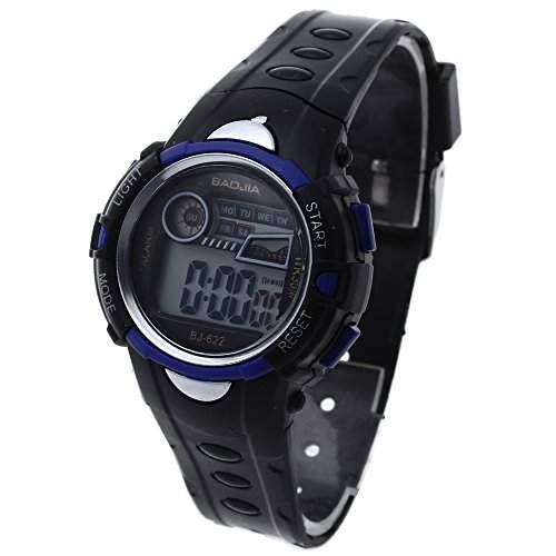 FACILLA® Digital Kinderuhr LED Armbanduhr Sportuhr Datum-Anzeige Weckfunktion Schwarz NEU